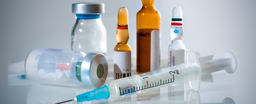 Medical ampoules and syringe